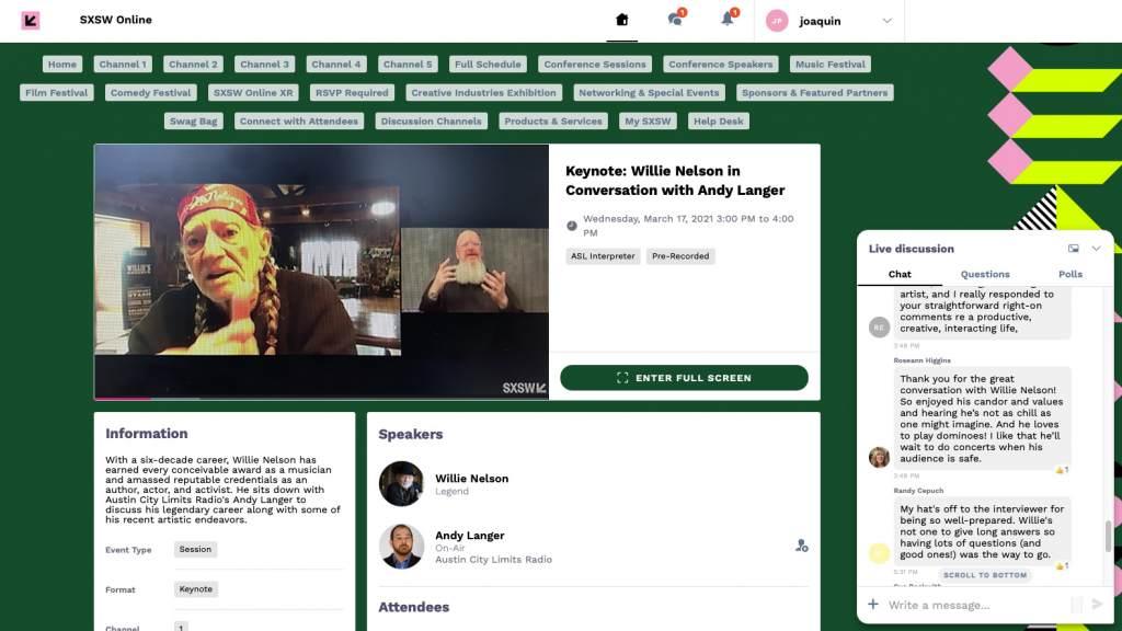 Tela do sxsw 2021 online